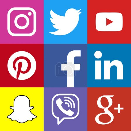 Square social media logo or social media icon template set. Social network web button. Facebook, YouTube, Google +, Linkedin, Viber, Pinterest, Twitter, Instagram, Snapchat.