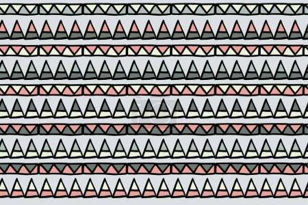 Foto de Abstract horizontal geometric pattern with hand drawn elements, vector. Seamless pattern. There is the swatch in the panel. Elements are not cut off and hidden under mask - Imagen libre de derechos
