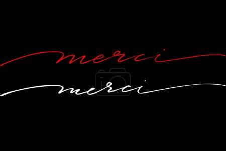 Foto de Gracias en francés, texto escrito a mano sobre fondo negro, vector. - Imagen libre de derechos