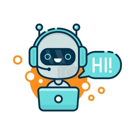 Cute smiling robot, chat bot say hi