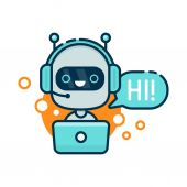 Cute smiling robot chat bot say hi