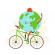 Cute happy smiling Earth planet riding bicycle.Iso...