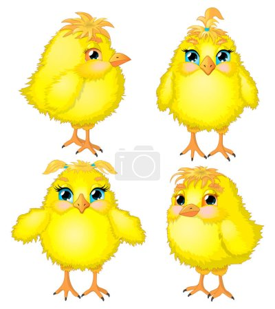 Illustration for Funny chickens with expressive eyes and cute faces. - Royalty Free Image