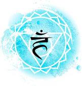 fifth Throat chakra visuddha on light blue watercolor background