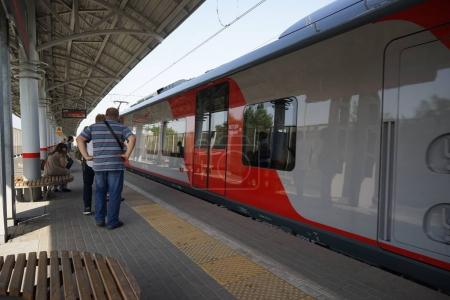 RUSSIA, MOSCOW - AUGUST 19, 2017: Moscow center ring MCC , A passenger transport in Moscow.