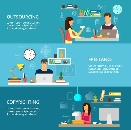 Concepts of outsourcing, freelance and copyrighting process