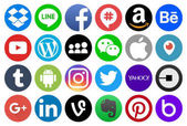 Different circle popular social media and other icons: Linkedin Blogger Instagram Amazon Whatsapp Ebay and others