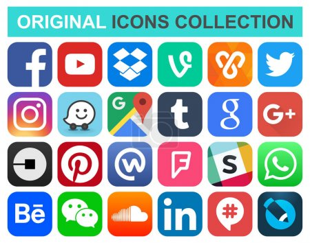 Photo for Popular social media and other icons: Facebook, Twitter, Instagram, Wechat, Pinterest, Youtube and other - Royalty Free Image