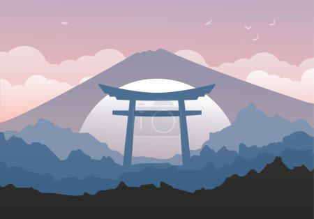 Illustration pour Paysage japonais arrière-plan magnifique avec montagnes et Torii. Portail japonais traditionnel avec des nuages. Modèle de carte postale. Stock vectoriel - image libre de droit