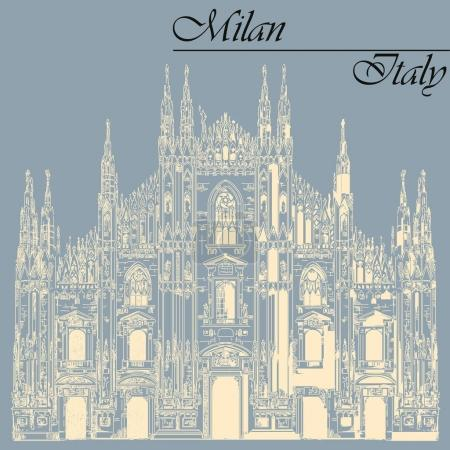 Milan Cathedral in Italy on blue background
