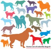 Set of colorful dogs silhouettes-8