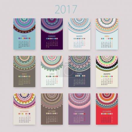 Abstract 2017 Spanish vector calendar with circle ornament mandala.