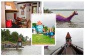 Colloge of photos in Moominworld, Naantali, Finland. 07.07.2015.