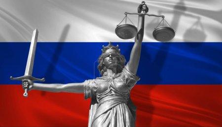 Photo pour Couverture sur Law. Statue du dieu de la justice Thématiques avec le drapeau de Russie arrière-plan. Statue originale de la justice. Femida, avec échelle, symbole de justice avec drapeau russe, rendu 3d . - image libre de droit