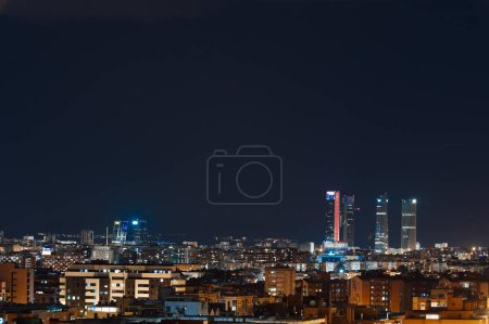Photo for Panoramic aerial view of Madrid at night, Metropolis Building lights, capital of Spain, Europe - Royalty Free Image