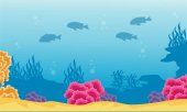 Landscape of coral reef and fish silhouettes