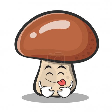 Tongue out mushroom character cartoon