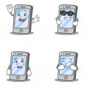 Set of iPhone character with waving cool surprised crying vector art