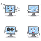 Set of monitor character with happiness crying afraid super cool vector illustration