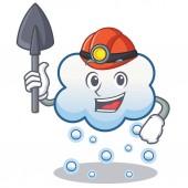Miner snow cloud character cartoon