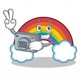 Photographer colorful rainbow character cartoon