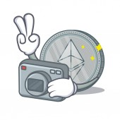 Photographer Ethereum coin character cartoon