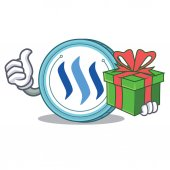 With gift Steem coin character cartoon