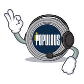 With headphone populous coin character cartoon