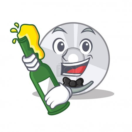 With beer CD mascot cartoon style