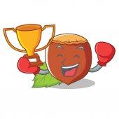Boxing winner hazelnut mascot cartoon style