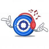 Listening music Cryptonex coin mascot cartoon