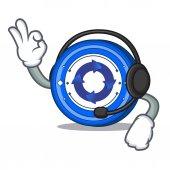 With headphone Cryptonex coin mascot cartoon