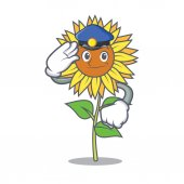 Police sunflower character cartoon style