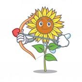 Cupid sunflower character cartoon style