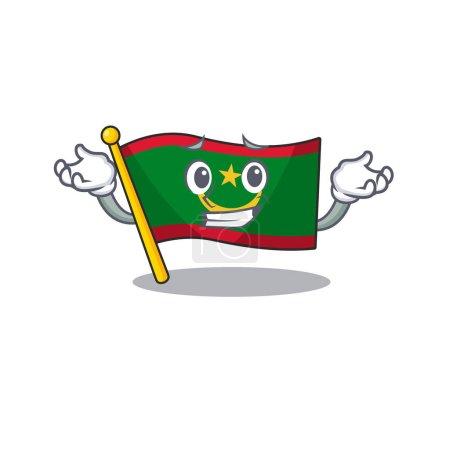 Super Cool Grinning flag mauritania mascot cartoon...