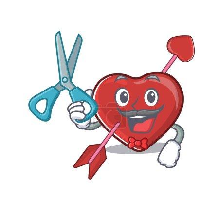 Illustration pour Caractère de dessin animé de coeur de coiffeur sportif et style de conception de flèche. Illustration vectorielle - image libre de droit
