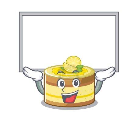 Photo pour A lemon cake mascot picture raised up board. Vector illustration - image libre de droit