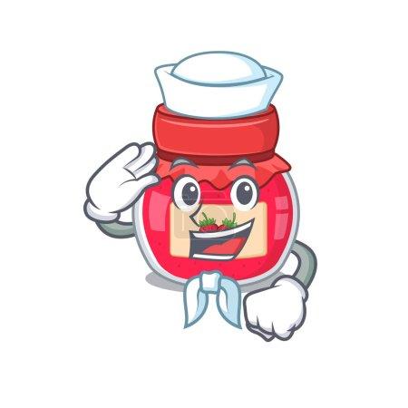 Photo pour Concept de bande dessinée sur confiture de fraises Marin portant un chapeau. Illustration vectorielle - image libre de droit