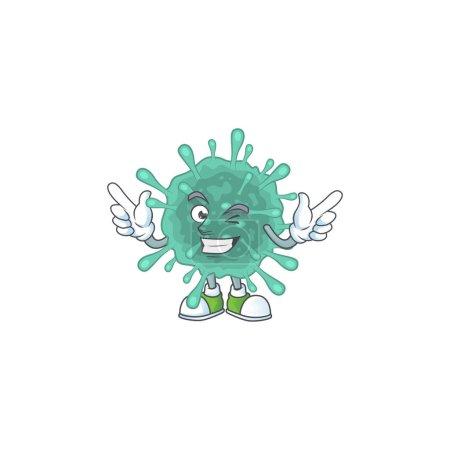 Funny coronaviruses cartoon design style with wink eye face