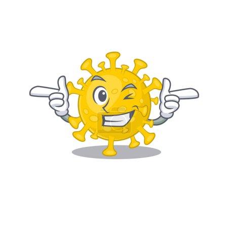 Smiley corona virus diagnosis cartoon design style showing wink eye