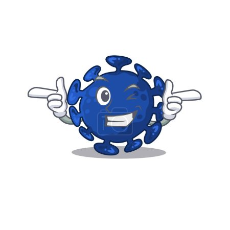 Cartoon design concept of streptococcus with funny wink eye. Vector illustration