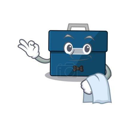 Une image de dessin animé du serveur de valise d'affaires avec une serviette blanche