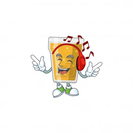 Photo for Cartoon drawing design of mug of beer listening to the music with headset. Vector illustration - Royalty Free Image