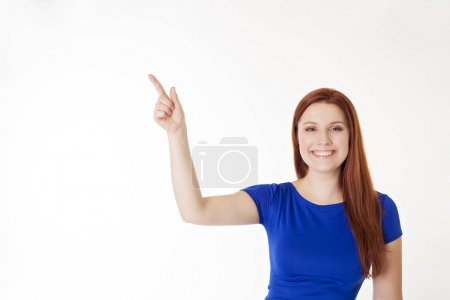girl showing empty copy space