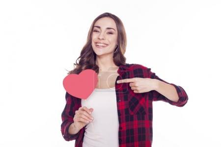 beautiful woman holding pink heart