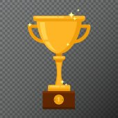Champion golden goblet isolated on background Vector illustration with award cup done in simple flat design Glossy prise used for a logo website certificate or diploma creations