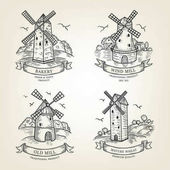 Set of farm landscapes with windmills views Vector farmlands isolated on background Realistic old mills collection are use as label logo sticker emblem for advertising bakery or flour products