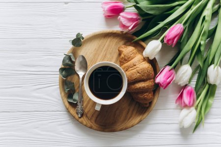 tulips with hot coffee