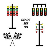 Set start line racing starting lights system on white background