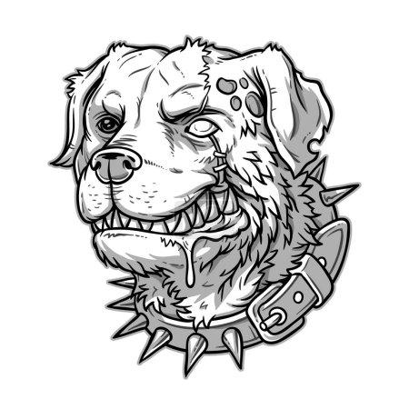 Photo pour Illustration du mal chien fou souriant dents - image libre de droit
